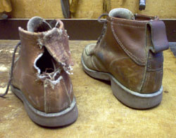 Badly Dog-chewed Town and Country shoes before repair